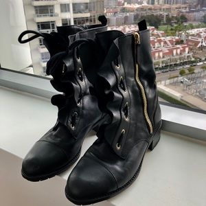 Valentino Ruffled Leather Motorcycle Boots
